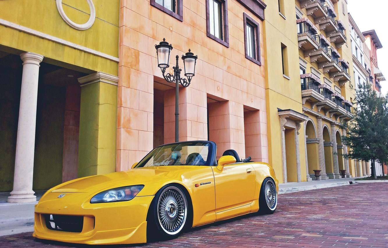 Photo wallpaper the city, Yellow, Convertible, Honda, S2000