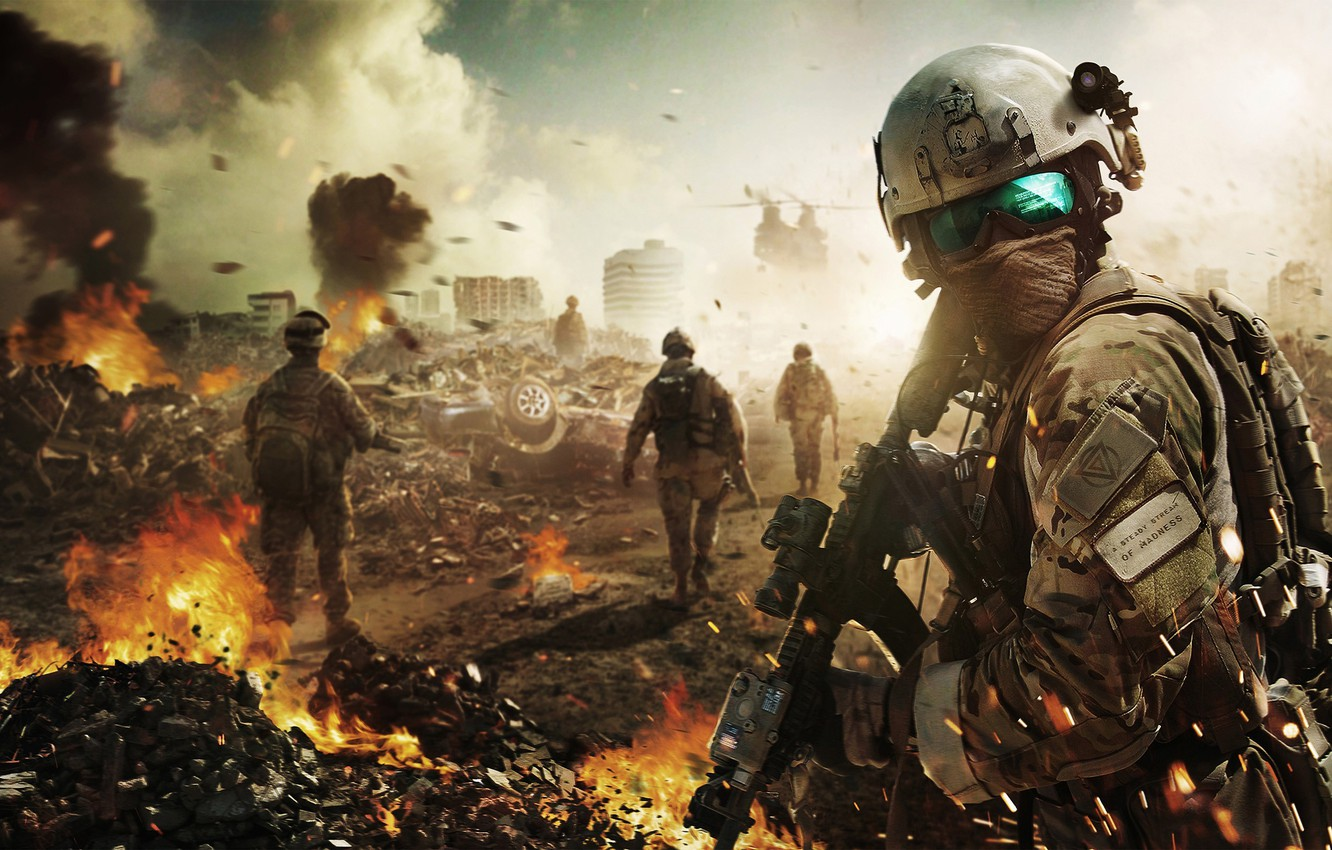 Photo wallpaper weapons, war, soldiers, Future Soldier, Ghost Recon, Tom Clancy's