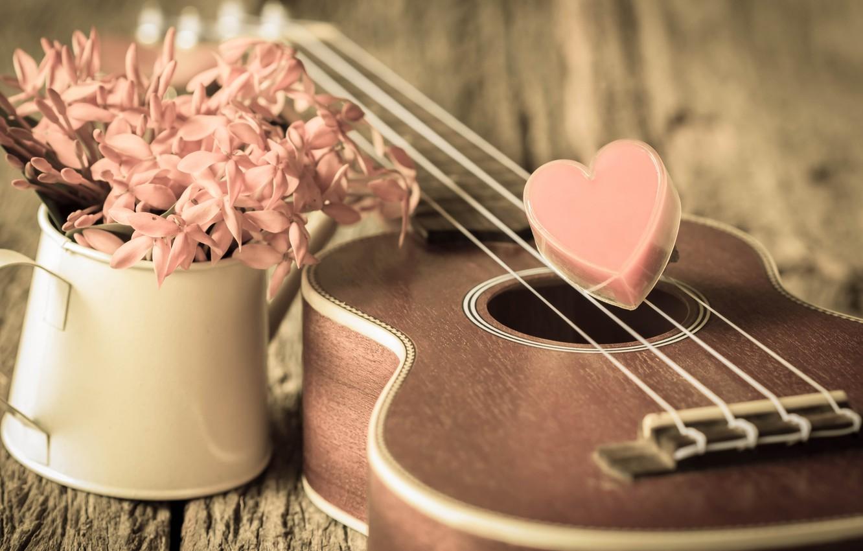 Photo wallpaper flowers, heart, love, vintage, heart, romantic, ukulele