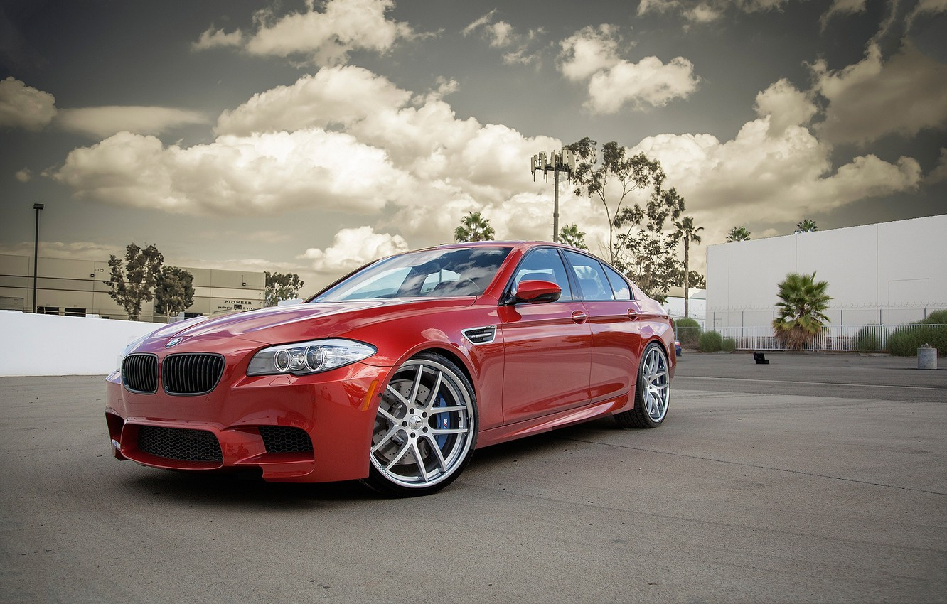 Photo wallpaper the sky, clouds, trees, red, the building, bmw, BMW, red, side view, f10