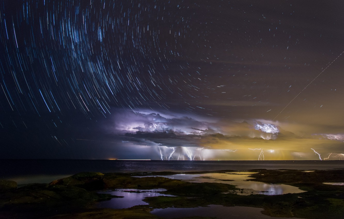 Photo wallpaper sea, the sky, water, light, night, clouds, storm, the city, the ocean, zipper, Bay, stars, …