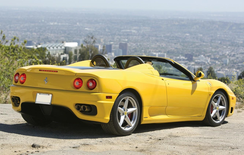 Photo wallpaper yellow, Ferrari, Ferrari, rear view, 360, spider, Spider