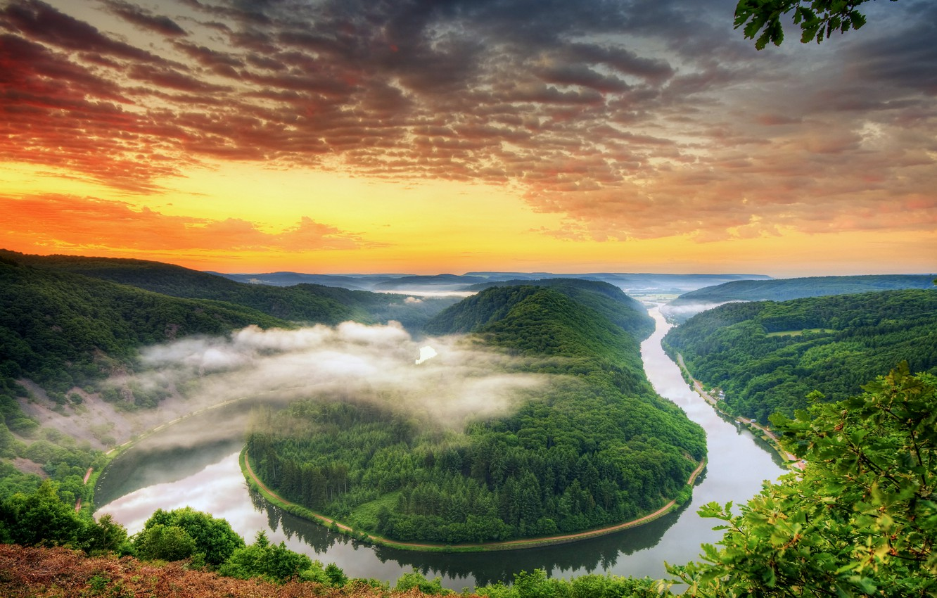 Photo wallpaper forest, the sky, clouds, trees, sunset, orange, bright, river, view, height, the evening, Germany, bending, …