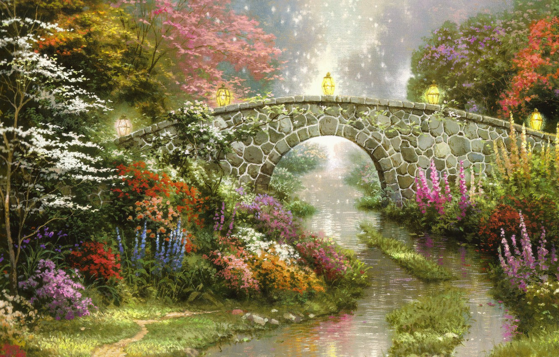 Photo wallpaper flowers, bridge, nature, magic, lights, beautiful, magic, painting, nature, bridge, flowers, beautiful, Thomas Kinkade, painting, …