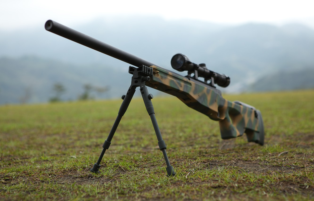 Photo wallpaper weapons, optics, rifle, sniper, awp, bipod, awm, Arctic Warfare Magnum, camouflage color