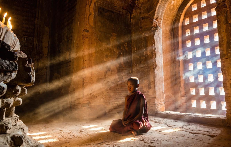 Photo wallpaper light, photo, boy, mood, child, sunlight, door, meditation, sun rays, temple, light rays, religion, monks, …