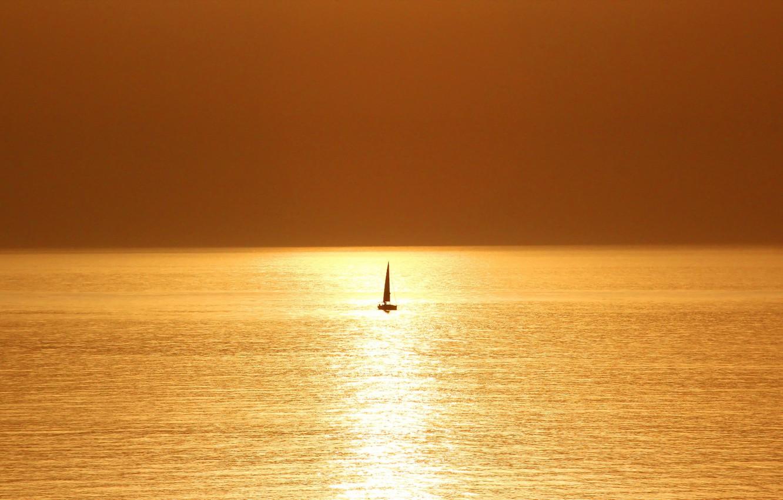 Photo wallpaper sea, sunset, boat