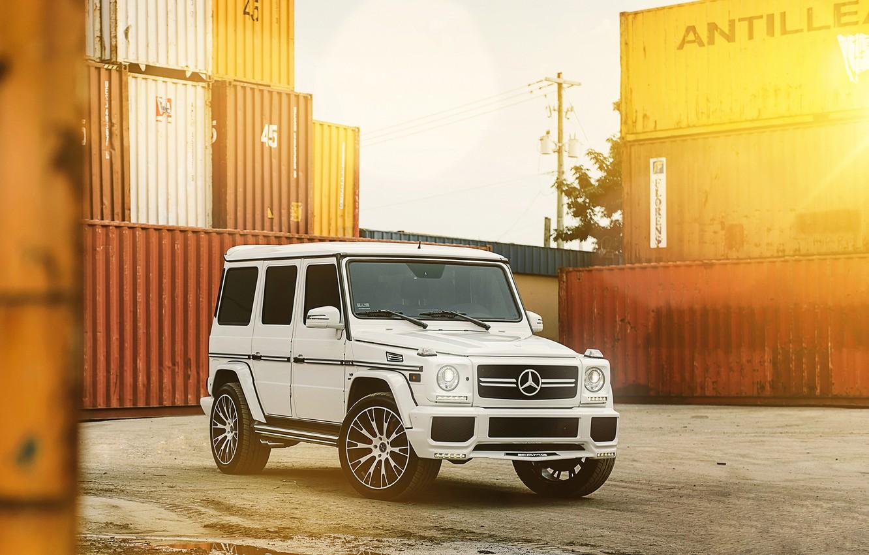Photo wallpaper White, Tuning, Mercedes, Drives, Gaelic, G63, MC Customs Vellano