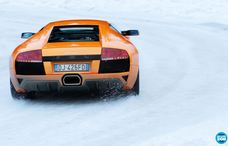 Photo wallpaper winter, road, snow, orange, Lamborghini, supercar, rear view, Murcielago, top gear, Lamborghini, top gear, top …