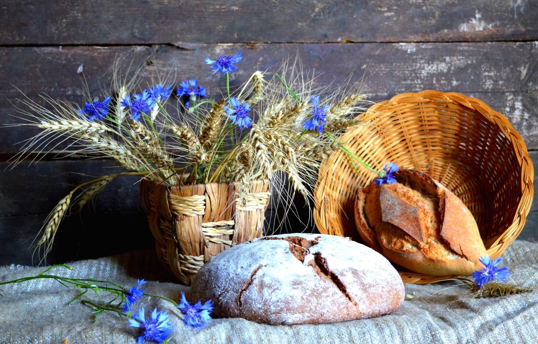 Photo wallpaper wheat, spikelets, bread, still life, cornflowers