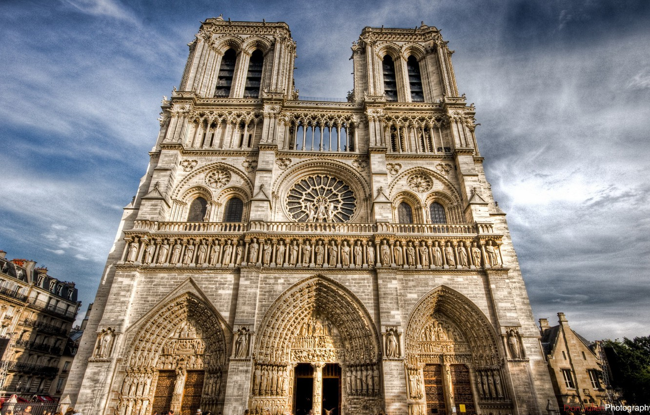 Photo wallpaper the sky, clouds, Notre Dame Cathedral