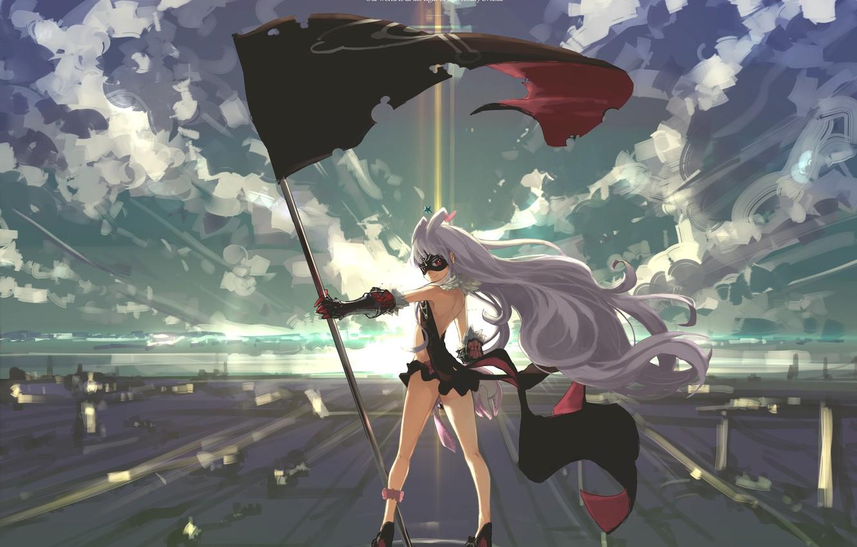 Photo wallpaper the sky, girl, clouds, light, sunset, smile, anime, flag, mask, art, sekai seifuku, Kate hoshimiya, …