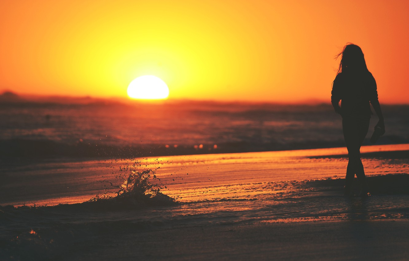 Photo wallpaper sea, wave, girl, the sun, sunset, squirt