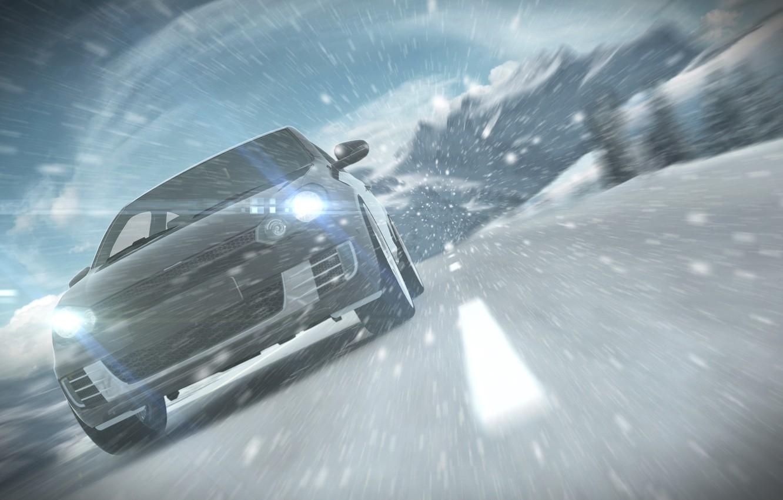 Photo wallpaper road, machine, snow, markup, the wind