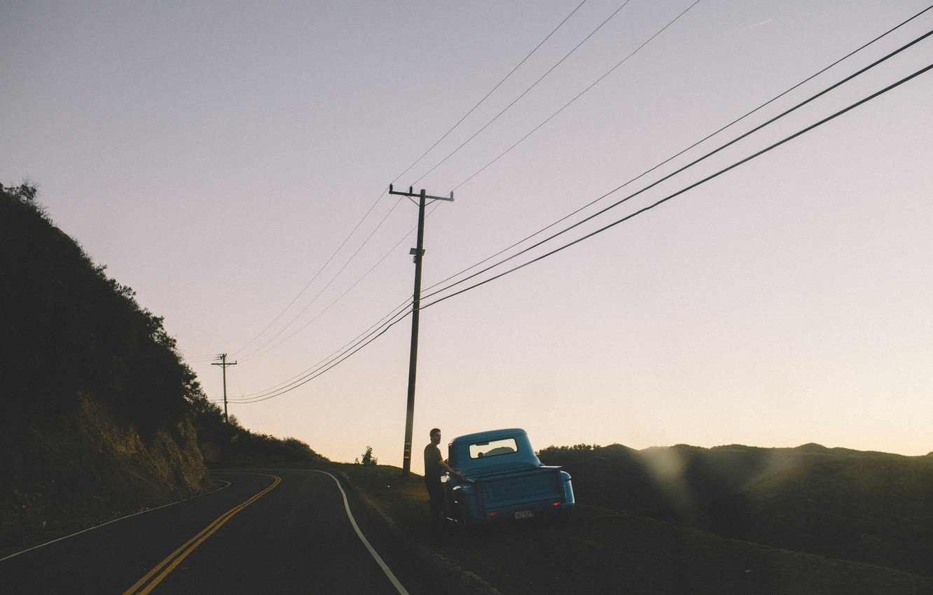 Photo wallpaper road, the sky, Chevrolet, male, twilight, power line, Pick Up