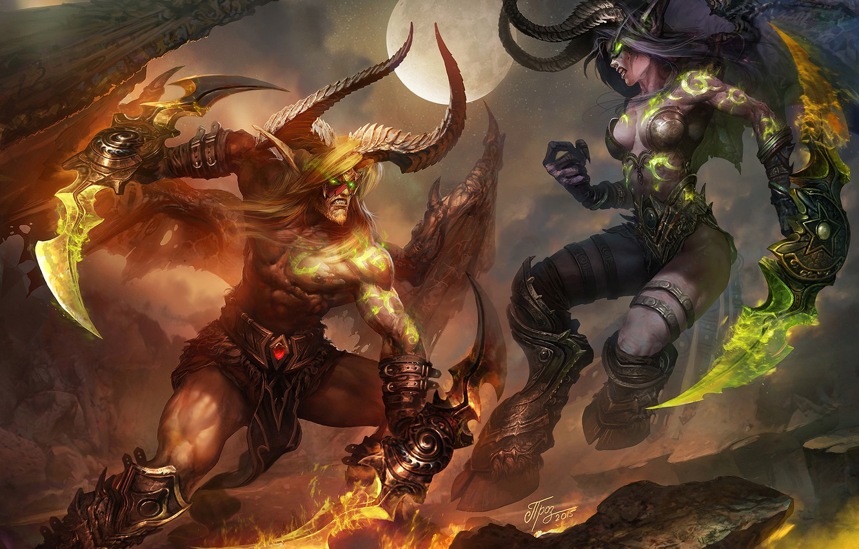 Photo wallpaper night, elf, battle, the demon, fight, warcraft, hunter, wow, world of warcraft