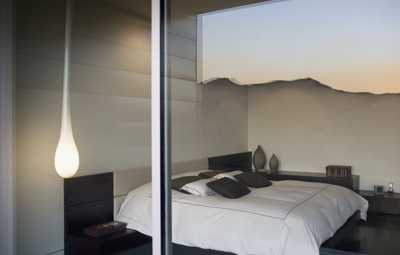Photo wallpaper glass, design, reflection, room, lamp, bed, interior, window, bedroom