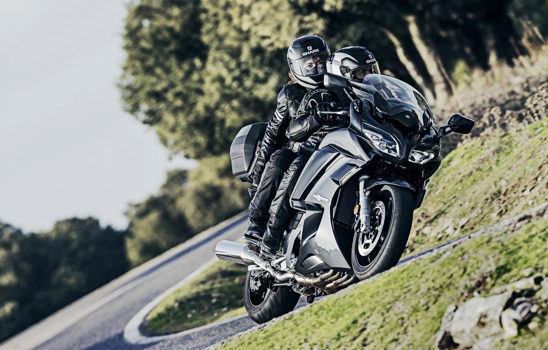 Photo wallpaper sport, Yamaha, moto, road, tourer, FJR