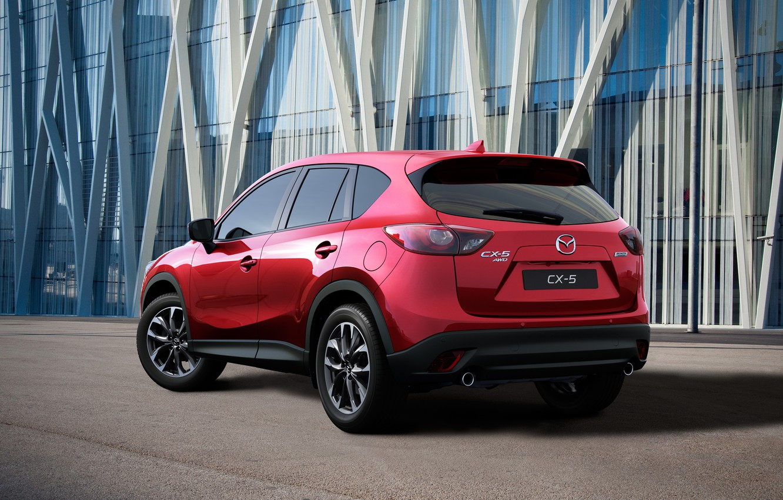 Photo wallpaper red, photo, Mazda, back, Mazda, car, metallic, 2015, CX-5