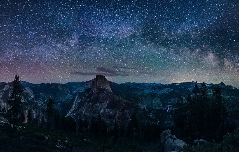 Photo wallpaper Сalifornia, Nature, Sky, Landscape, Yosemite, Night, Glacier, Way, Milky, Point, Galaxy