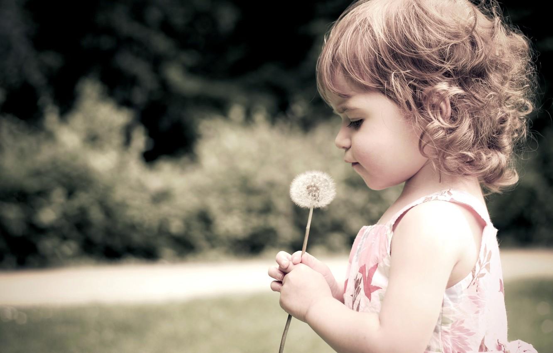 Photo wallpaper flower, dandelion, child, girl, curls, child