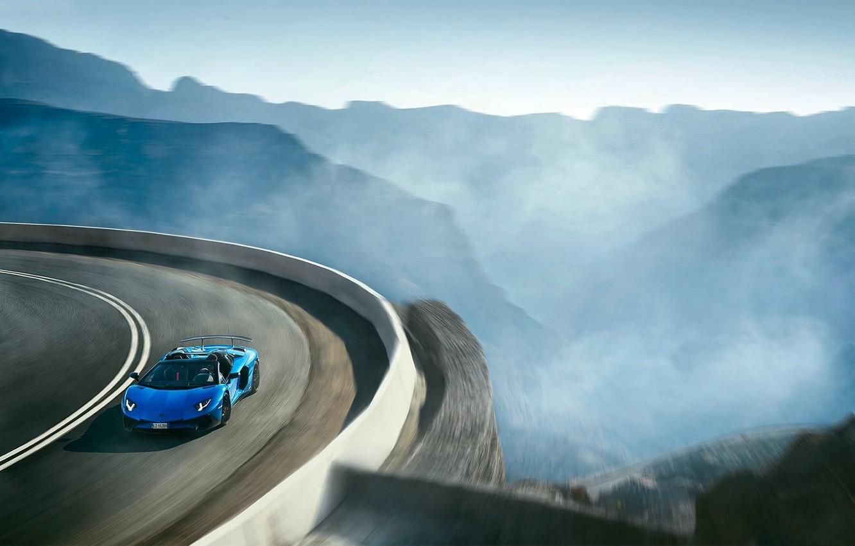 Photo wallpaper Roadster, Lamborghini, Blue, Landscape, Aventador, Supercar, LP 750-4, Superveloce