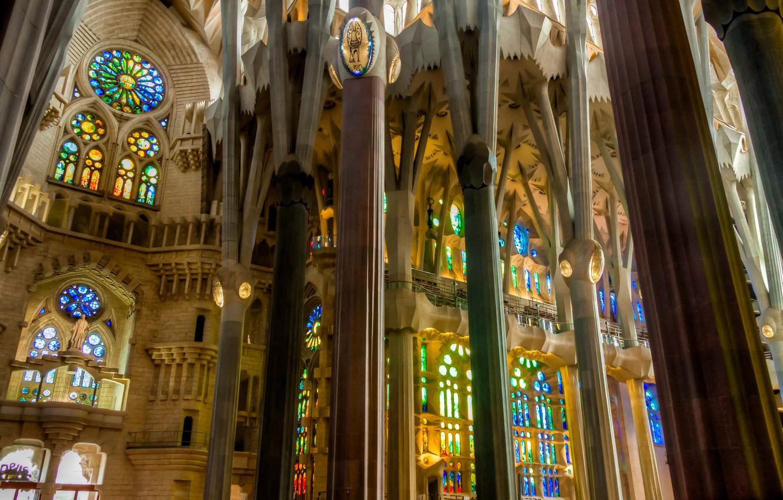 Photo wallpaper columns, stained glass, Spain, religion, Barcelona, The Sagrada Familia