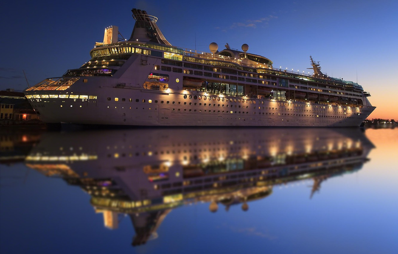 Photo wallpaper water, lights, reflection, the evening, liner, cruise ship