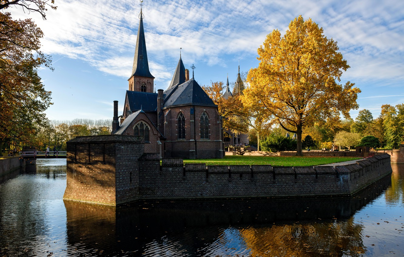 Photo wallpaper trees, the city, river, photo, castle, Cathedral, temple, Netherlands, the monastery, De Hair