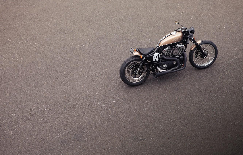 Photo wallpaper asphalt, model, motorcycle, class, custom, custom, custom items, Cafe Racer, Deus Ex Machina, Harley Davidson, …