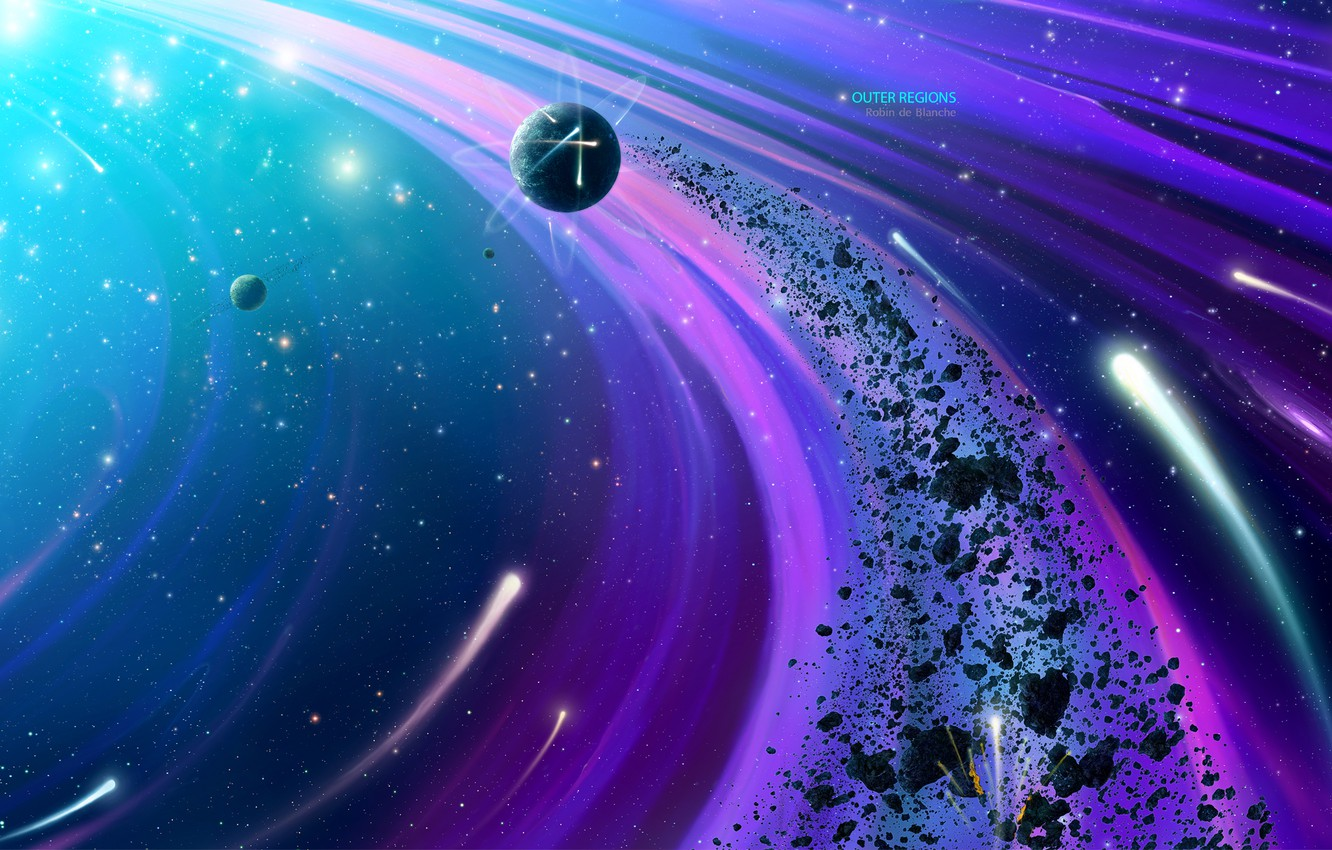 Photo wallpaper space, fragments, planet, stars, the asteroid belt, by Robin De Blanche, Outer Regions