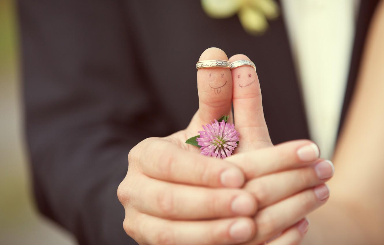 Photo wallpaper flower, girl, creative, positive, ring, pair, clover, guy, faces, wedding, bokeh
