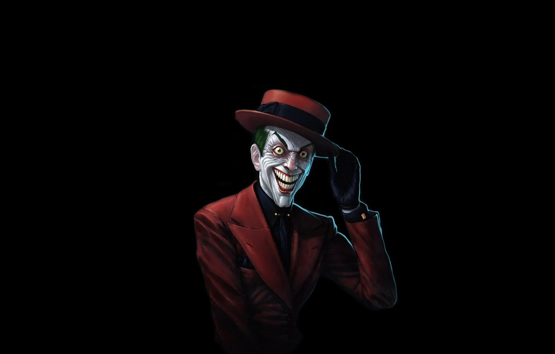 Photo wallpaper red, smile, batman, Batman, hat, Joker, costume, comic, Joker, mad, intellectual