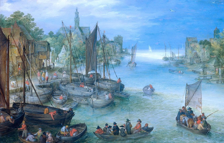 Photo wallpaper picture, boats, River Landscape, Jan Brueghel the elder