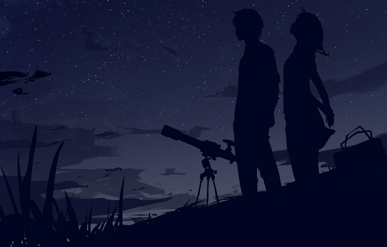 Photo wallpaper the sky, stars, clouds, the wind, Night, bag, two, silhouettes, telescope