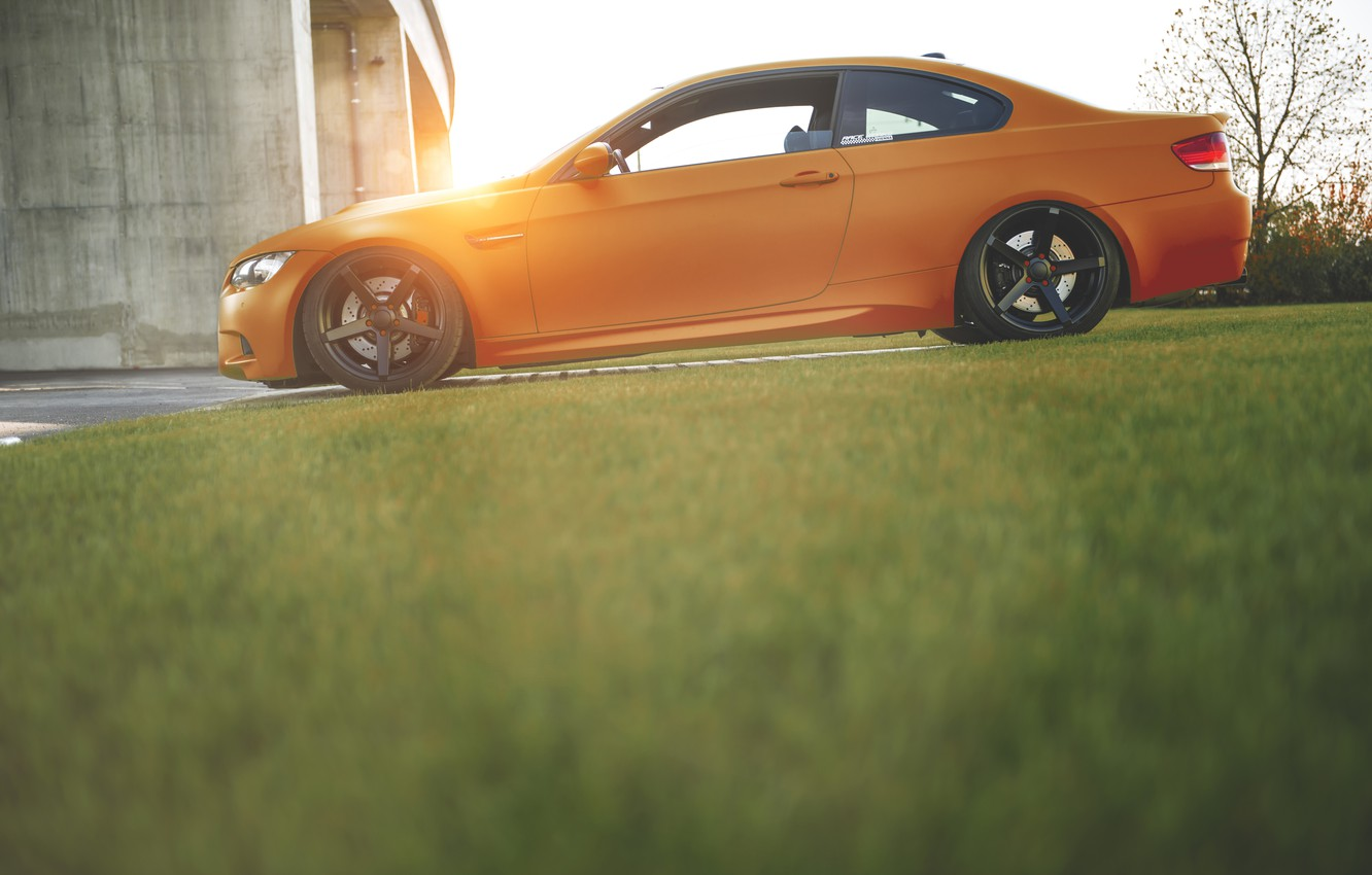 Photo wallpaper grass, BMW, Orange, Tuning, BMW, Drives, E92, Deep Concave
