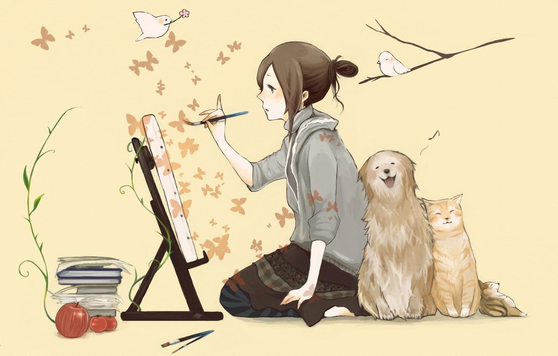 Photo wallpaper cat, butterfly, birds, books, dog, girl, brush, draws, easel
