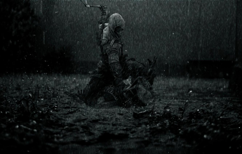 Photo wallpaper rain, dark, killer, rain, creed, assassins, assassin, the creed of the assassins, Assassin's Creed 3, …