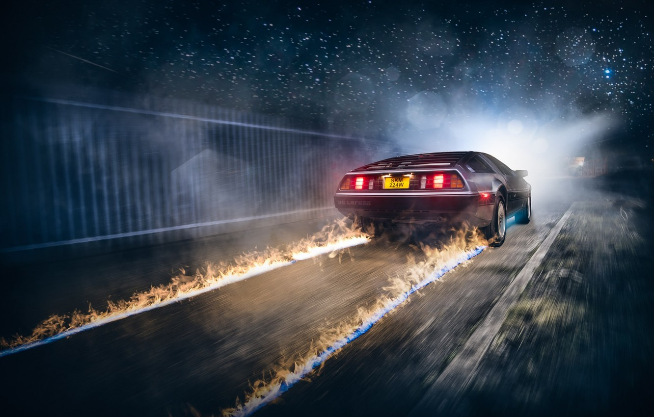 Photo wallpaper Car, Fire, DeLorean, DMC-12, Rear, Ligth, Nigth, Back To The Future