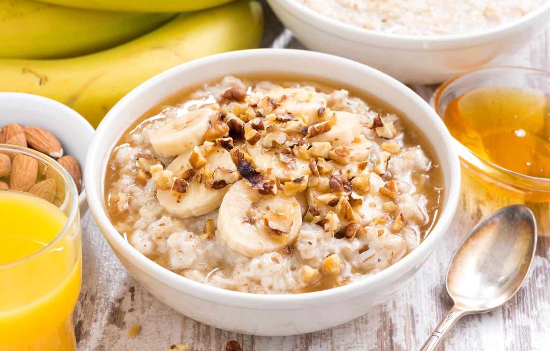 Photo wallpaper honey, bananas, nuts, porridge, oatmeal