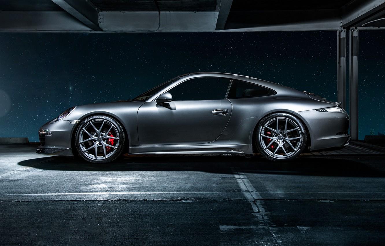 Photo wallpaper 911, Porsche, Carrera 4, grey, Porsche, side, Carrera, 2015