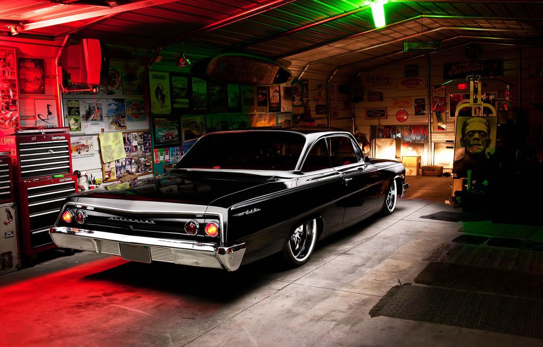 Photo wallpaper Chevrolet, Light, Bel Air, Black, Tuning, Retro, 1962, Garage, Rear