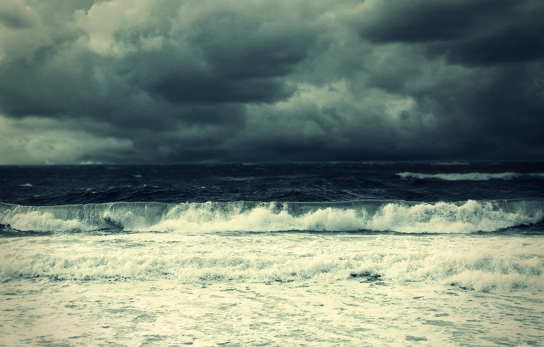 Photo wallpaper sea, clouds, element, surf