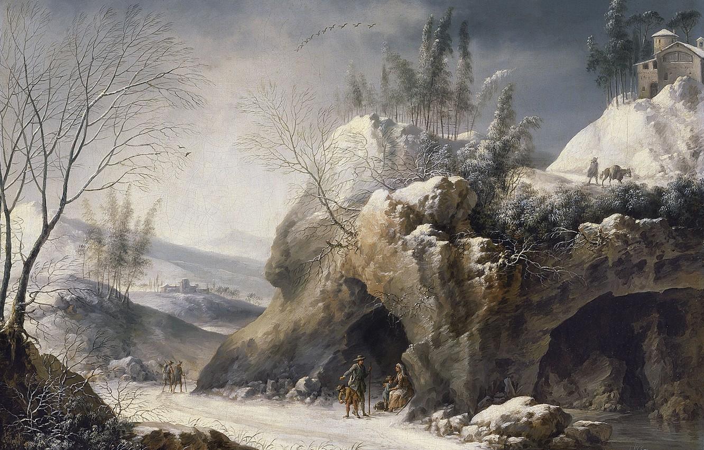 Photo wallpaper road, rocks, picture, Francesco Foschi, Winter Landscape with a Peasant Family