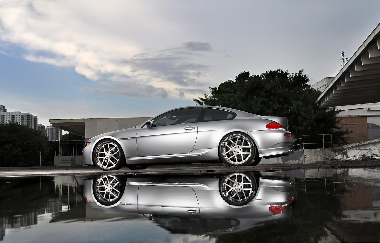 Photo wallpaper reflection, bmw, BMW, silver, puddle, silver, wheels, e63, Miami, miami