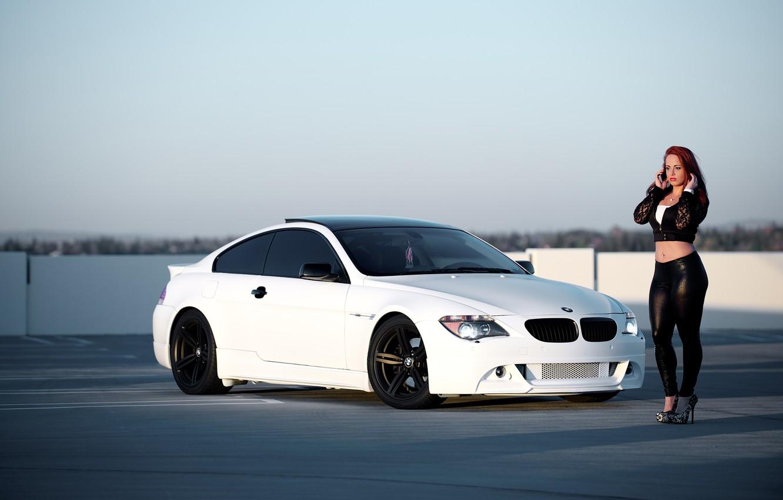 Photo wallpaper white, girl, bmw, BMW, coupe, girl, white, e63, sports