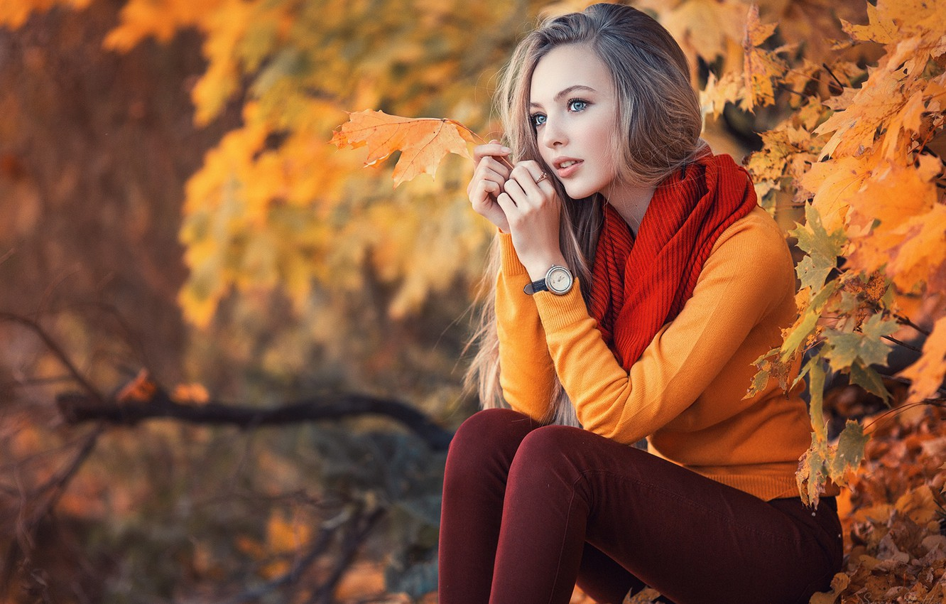 Photo wallpaper autumn, girl, foliage