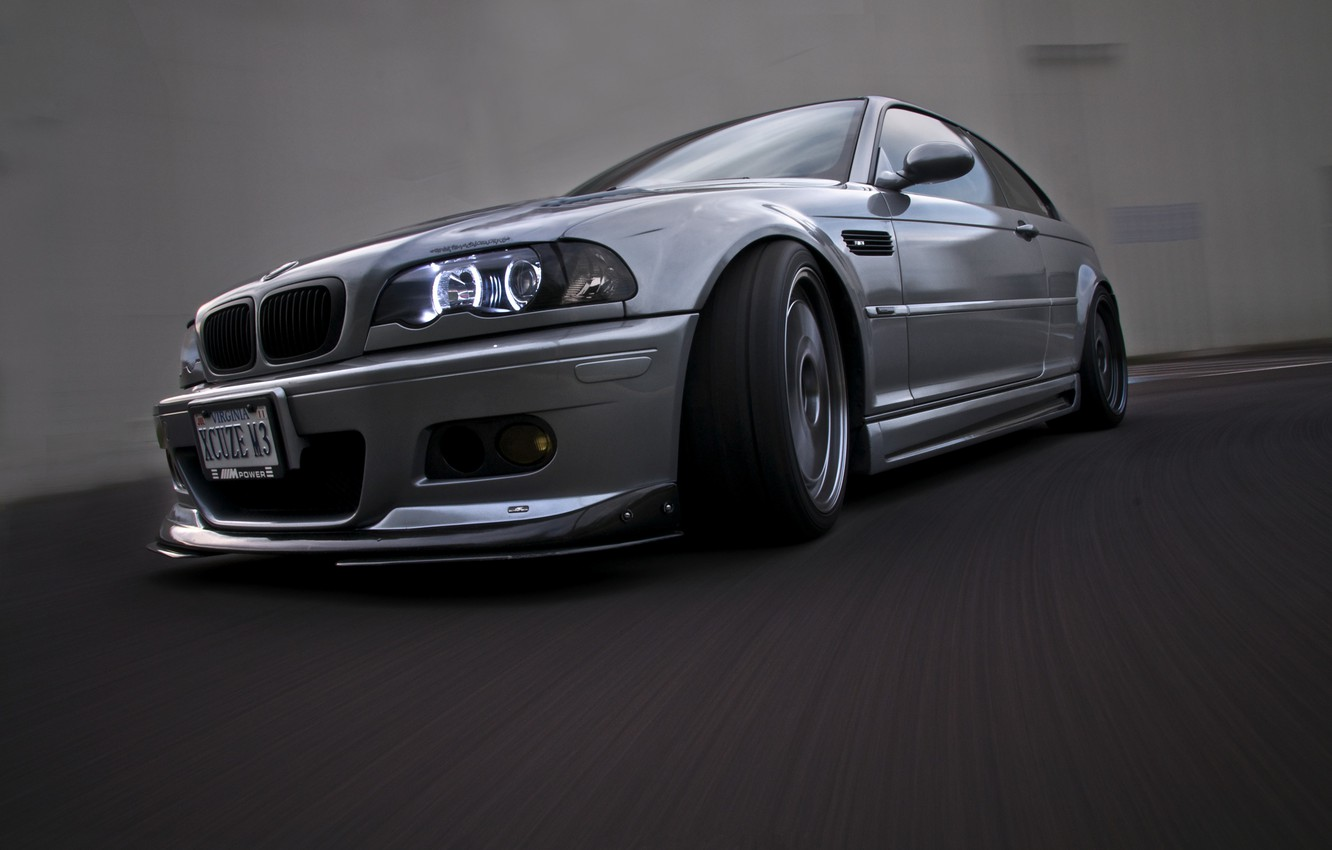 Photo wallpaper reflection, bmw, BMW, speed, headlight, silver, front view, speed, silvery, e46, daylight