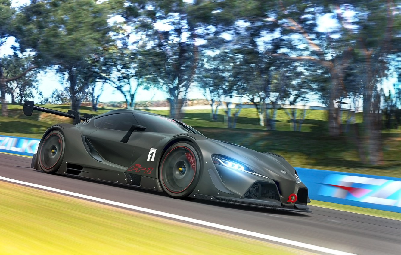 Photo wallpaper car, Concept, in motion, render, race, Gran Turismo, Toyota FT-1