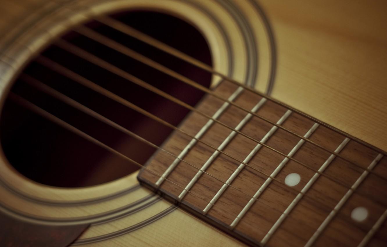 Photo wallpaper guitar, yellow, acoustics, brown